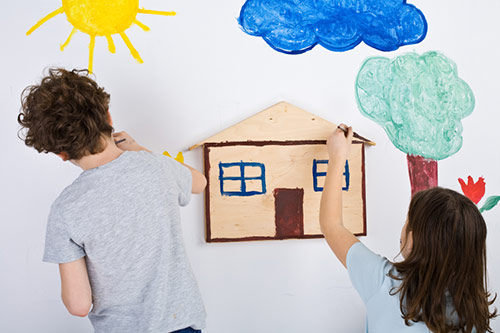Children Painting at Home